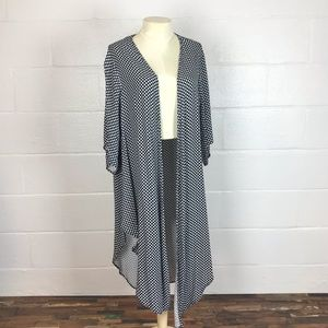 Long duster kimono cover up cardigan 1X